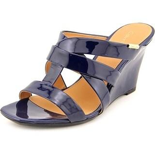 Calvin Klein Nona Open Toe Patent Leather Wedge Sandal