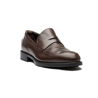 Tod's Men's Leather Moc Rigirato Nuovo Gomma Formalae Loafer Shoes Brown