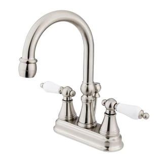 "Elements Of Design ES2618PL Double Handle 4"" Centerset Bathroom Faucet with Porcelain Lever Handles and Brass Drain Assembly"