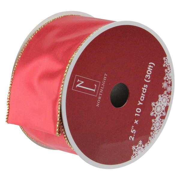 Shiny Red And Gold Solid Wired Christmas Craft Ribbon 2.5