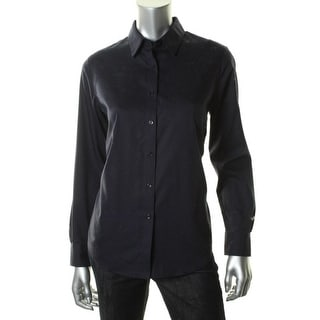 Jones New York Womens Cotton Long Sleeves Button-Down Top