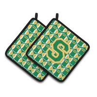 Carolines Treasures CJ1069-SPTHD Letter S Football Green & Gold Pair of Pot Holders, 7.5 x 3 x 7.5 in.