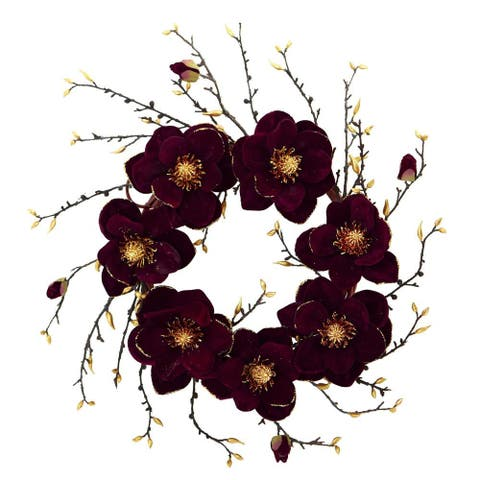 """Nearly Natural Home Decorative 24"""" Burgundy and Gold Magnolia Artificial Faux Wreath - Not Available"""