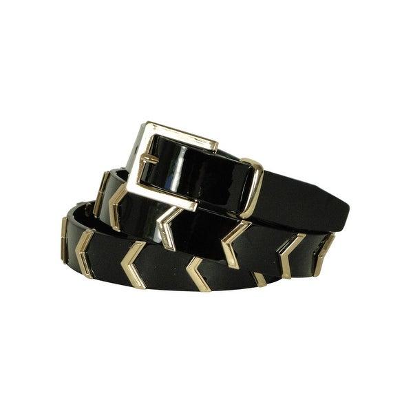 Style & Co. Women's Smooth Lining Metallic Chevron Pattern Belt - Black