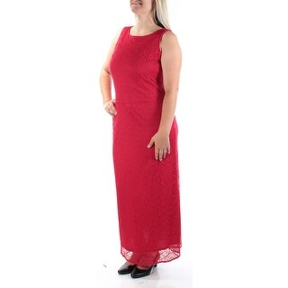 Womens Red Sleeveless FullLength Shift Casual Dress Size: 12