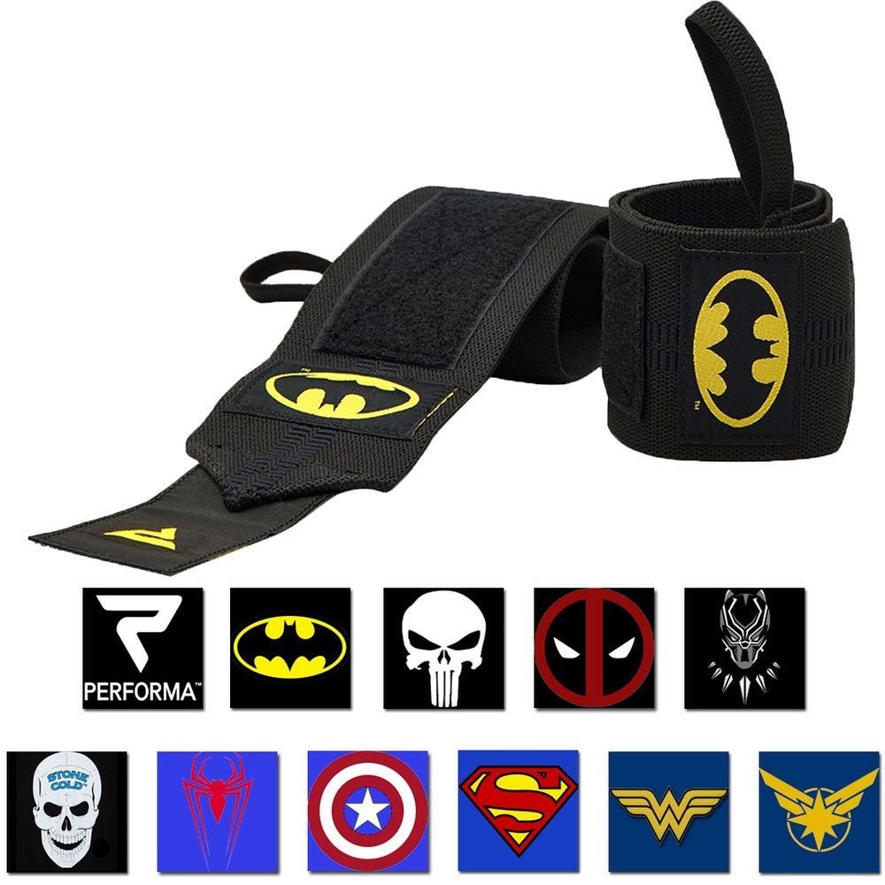 Performa Premium Weight Lifting Wrist Support Wraps - Choose Batman or Superman! (Black Panther)