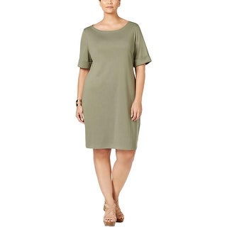 Karen Scott Womens Plus Shirtdress Boat Neck Cotton