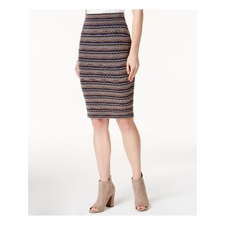 Link to BAR III Womens Navy Sweater Printed Knee Length Pencil Skirt  Size XS Similar Items in Skirts