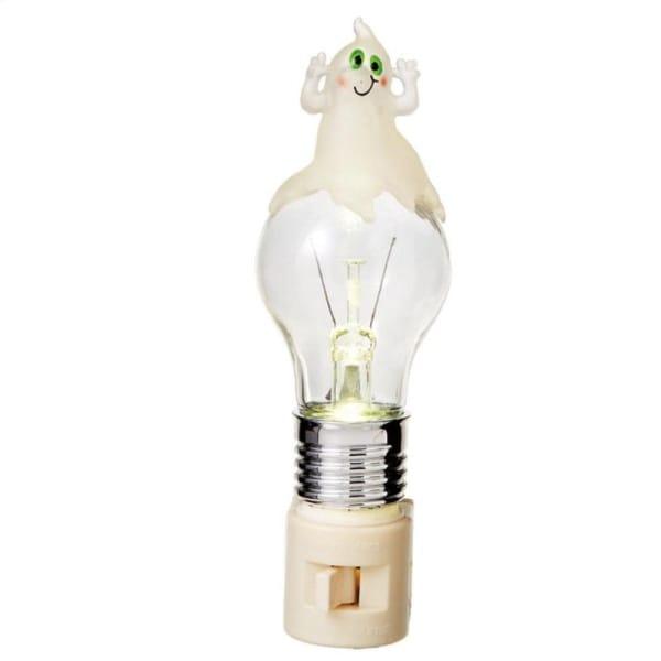 "6.25"" Spooky Light Bulb with Goofy Ghost LED Halloween Night Light - Clear"
