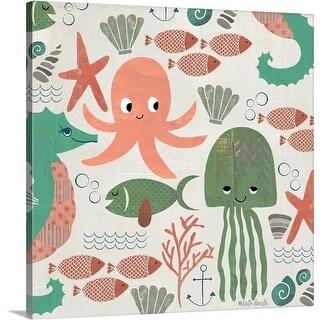 Katie Doucette Premium Thick-Wrap Canvas entitled Under The Sea Pattern