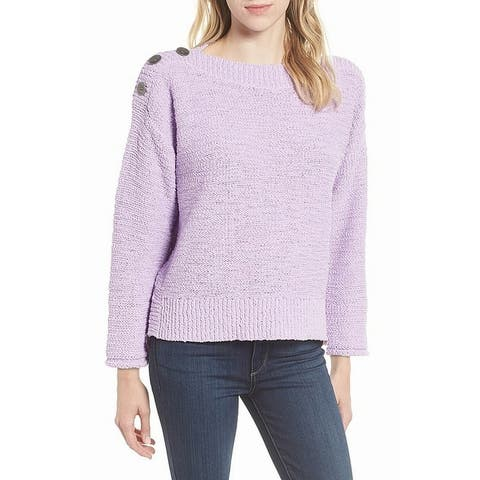 Caslon Womens Ribbed Trim Button Shoulder Knitted Sweater