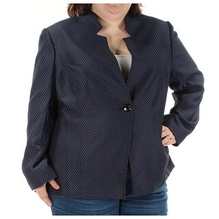 TAHARI $320 Womens New 1278 Blue Black Printed Button Down Jacket 20W Plus B+B