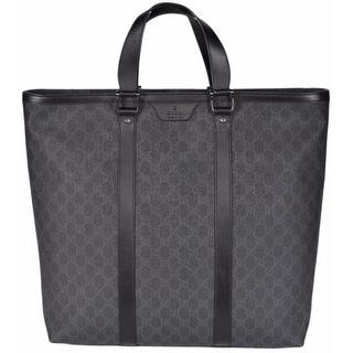 Gucci Men's 322063 XL Black Grey GG Supreme Canvas Top Zip Shopper Purse Bag