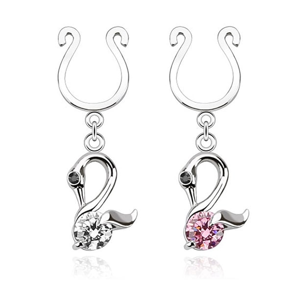 Swan Dangle with Single CZ Clip On Nipple Ring (Sold Individually)