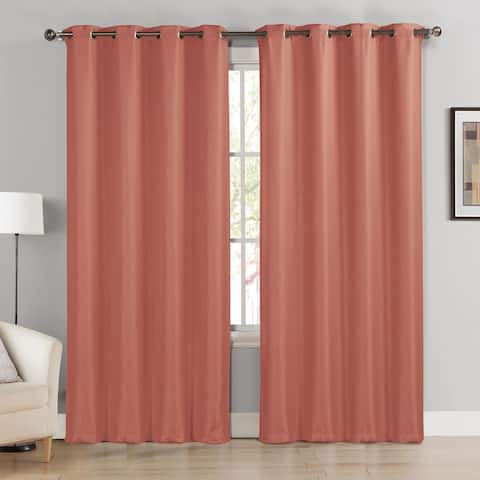 Celine Basketweave Blackout Window Curtain Panel Pair Set Salmon Red