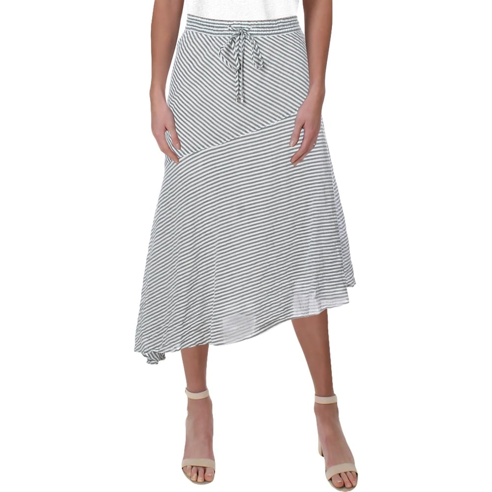 Lauren Ralph Lauren Womens Karundia Peasant Boho Skirt Asymmetric Striped - Black/White