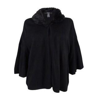 Alfani Women's Petite Faux-Fur-Collar Capelet (P, Deep Black) - Deep Black - pxs
