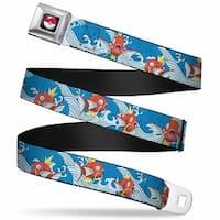 Pok Ball Full Color Black Magikarp Poses Waves Swirl Blue White Webbing Seatbelt Belt