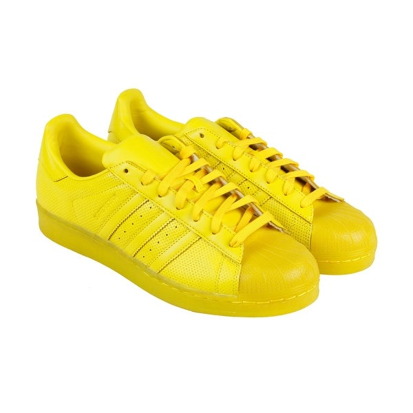 Adidas Superstar Adicolor Mens Yellow Synthetic Lace Up Sneakers Shoes
