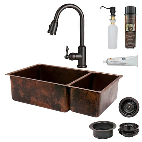 Premier Copper Products KSP2_K75DB33199 Kitchen Sink, Pull Down Faucet and Accessories Package