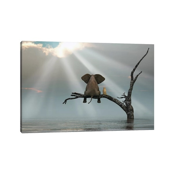 """iCanvas """"Elephant And Dog Are Sitting On A Tree Fleeing A Flood"""" by Mike Kiev Canvas Print. Opens flyout."""