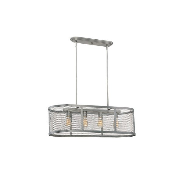 """Millennium Lighting 3284 Akron 4 Light 36"""" Wide Linear Chandelier with Mesh Style Metal Oblong Shade"""