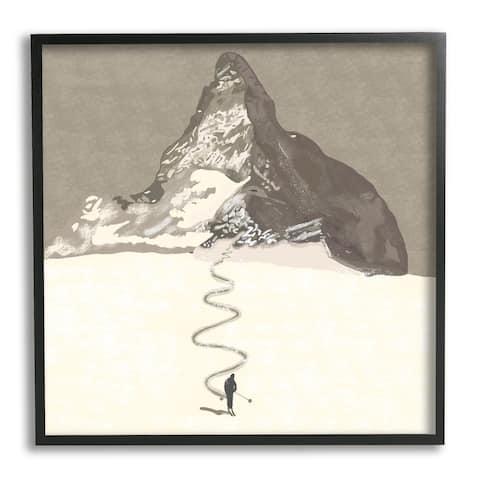 Stupell Industries Lonely Single Slope Ski Winter Sports Mountain Range Framed Wall Art