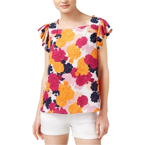 Maison Jules Womens Fultter Sleeve Knit Blouse