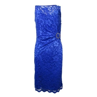 Marina Women's Embellished Ruched Illusion Lace Dress - Sapphire