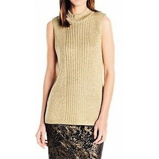 Calvin Klein NEW Gold Women's Size Large L Mock Turtleneck Tank Sweater