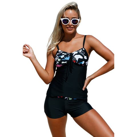 Cali Chic Women's Two Piece Swimsuit Celebrity Floral Detailing Tankini Shorts