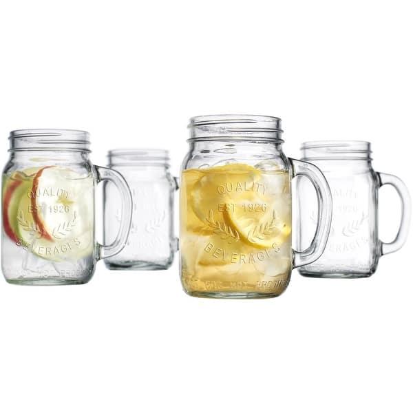 Palais Glassware Mason Jar Tumbler Mug with Handle 16 Ounces Set of 4 %28%27Quality Beverages%27 Embossed%29