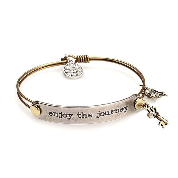 Women's Inspirational Message Brass Bracelet With Charms - Enjoy The Journey