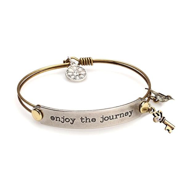 Women's Inspirational Message Brass Bracelet with Charms - Enjoy The Journey