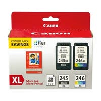 Canon PG-245 XL/CL-246XL 2-pack Ink Cartridge Canon PG-245XL/CL-246XL Ink Cartridge/Paper Kit - Black, Color - Inkjet