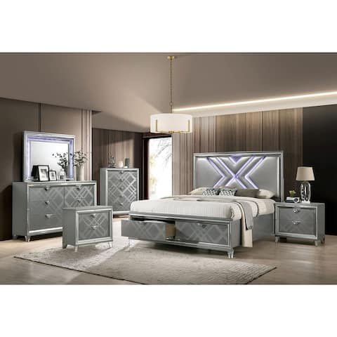 Furniture of America Bel Air Contemporary Silver 6-piece Bedroom Set