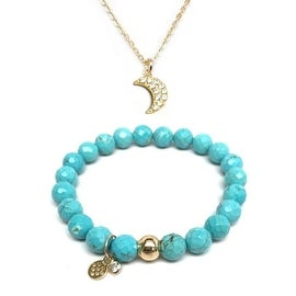 """Turquoise Magnesite 7"""" Bracelet & CZ Moon Gold Charm Necklace Set"""