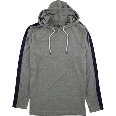 American Rag Mens Striped Sleeve Hoodie Sweatshirt, Grey, X-Large