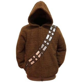 Star Wars Chewbacca Costume Hoodie Men's Adult Zip Up Sherpa Jacket