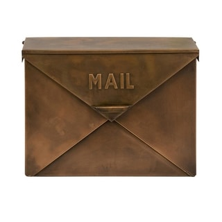"16"" Unique Envelope Style Rustic Copper Colored Decorative Mail Box"
