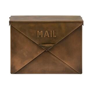 "16"" Unique Envelope Style Rustic Copper Colored Decorative Mail Box"