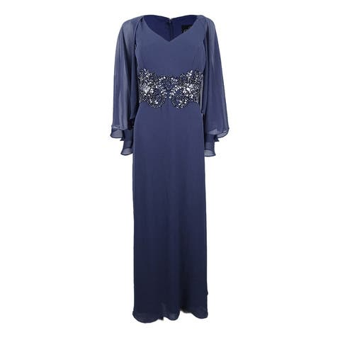 66249cdcb4082 Alex Evenings Women's V-Neck Embellished Capelet Gown (12, Heather) -  Heather
