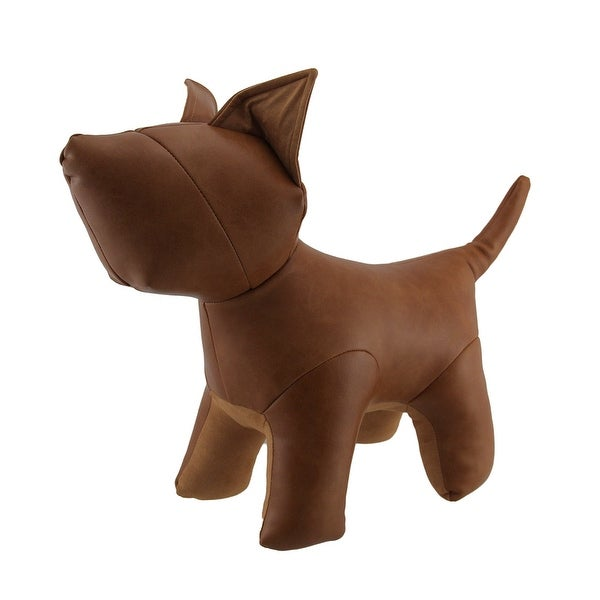 Cute Brown Faux Leather Puppy Dog Bean Bag Door Stop