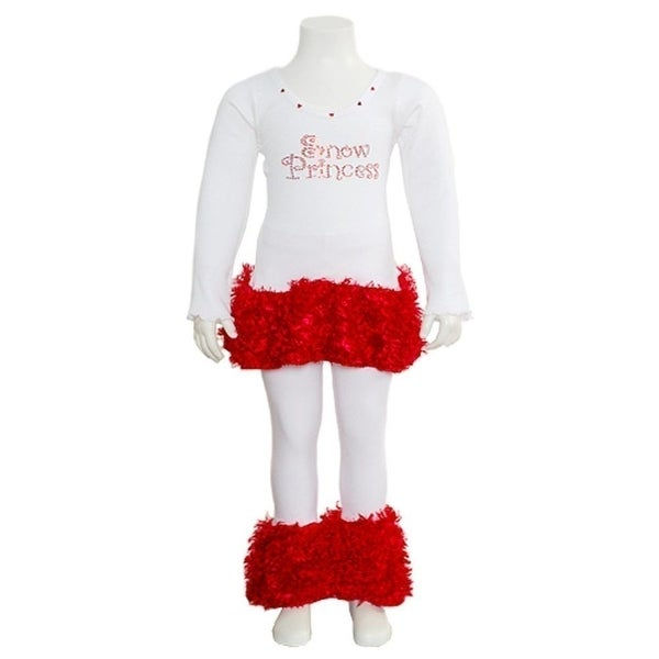 Newborn Baby Girls White Red Faux Snow Princess 2pc Outfit 6M