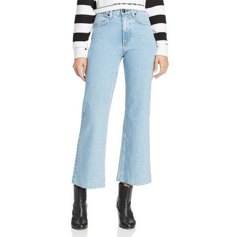 Rag & Bone Womens Justine Ankle Jeans High Rise Wide Leg
