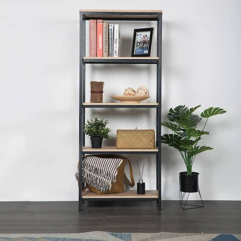 Amarantos 4 Shelf Wood and Metal Industrial Open Bookcase Tall Modern for Home