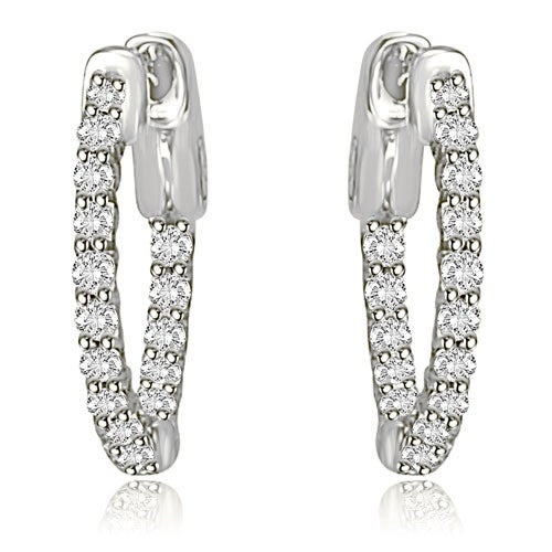 1.00 cttw. 14K White Gold Round Cut Diamond Hoop Earrings - White H-I