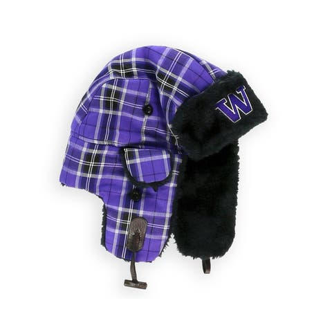 Top of the World Unisex UW Plaid Trapper Hat, purple, One Size - One Size