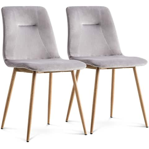 Ivinta Modern Dining Chairs Set of 2 Velvet Armless Accent Chairs Upholstered Side Chairs with Metal Legs for Dining Room