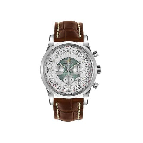 Breitling Men's AB0510U0-A732-757P 'Transocean Chronograph Unitime' Chronograph Brown Leather Watch - White